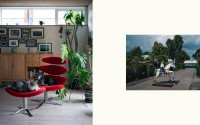 Collage of two photos, red lounge chair with a dog and stool with a cat on it, wooden armoire, photo frames on the wall, tall plants. On the right a child riding a play horse, a small blue wooden house in the background.